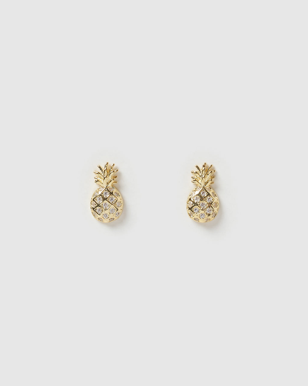 Izoa Mini Pineapple Stud Earrings Gold
