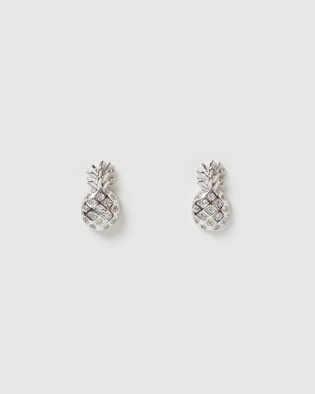 Izoa Mini Pineapple Stud Earrings Silver