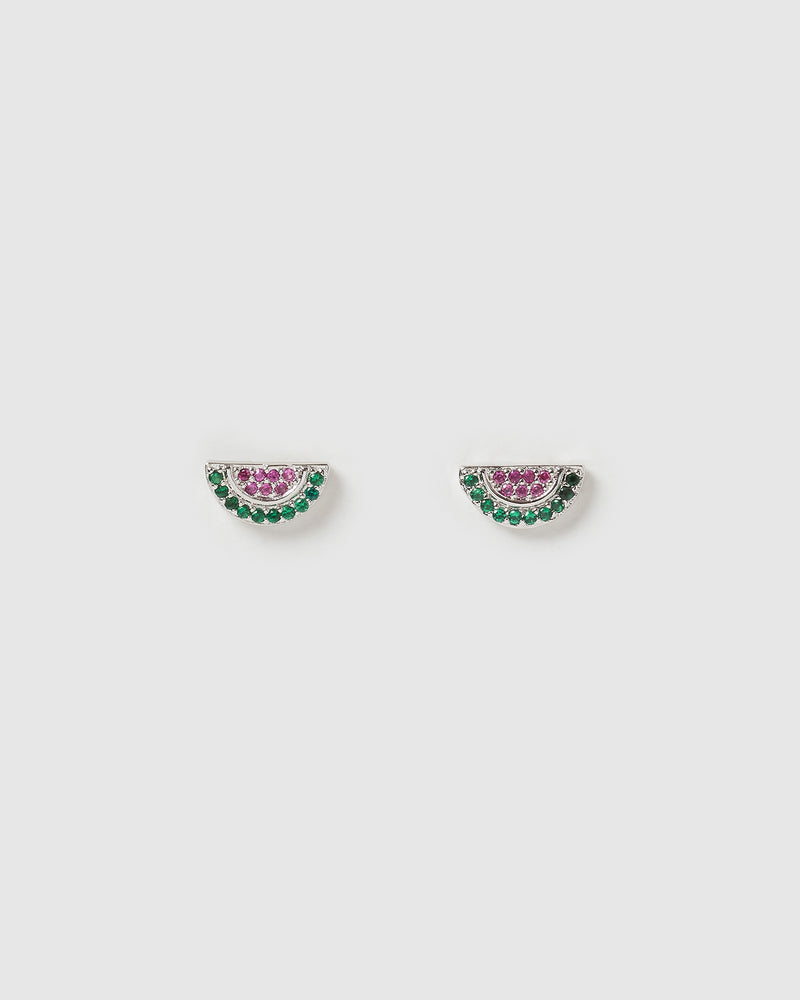 Izoa Mini Watermelon Earrings Silver