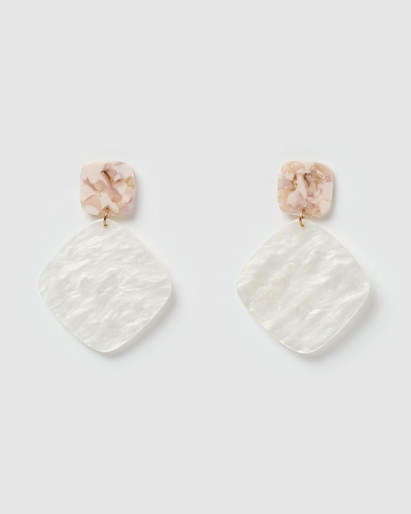 Izoa Mini World Wide Earrings White Pink