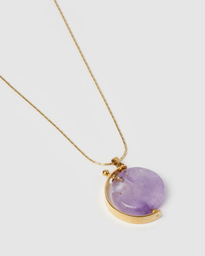 Miz Casa & Co Minute Necklace Perfume Bottle Amethyst Gold