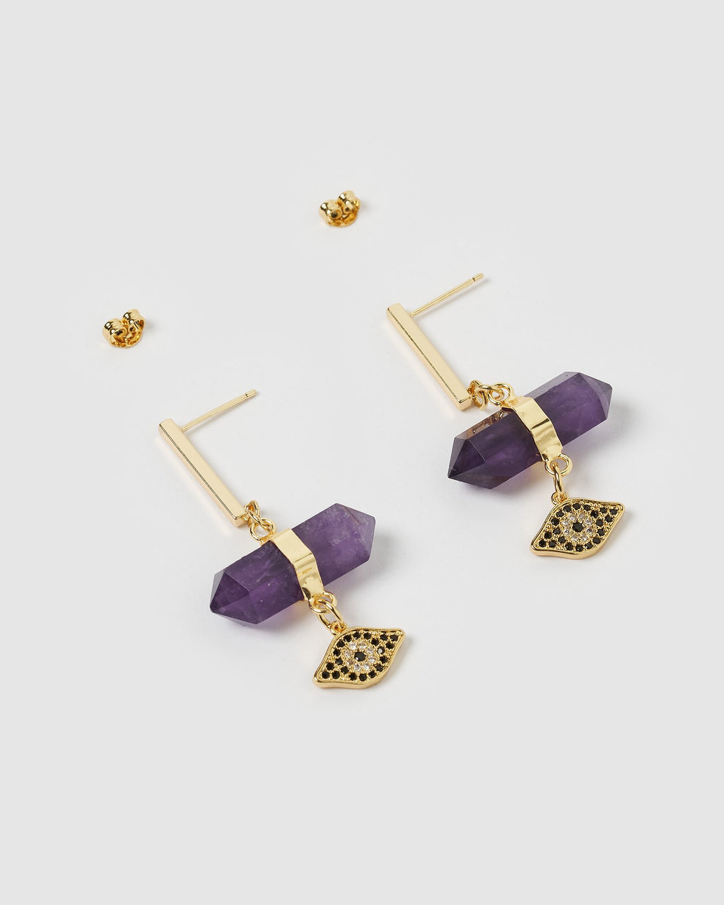 Miz Casa & Co Lea Earrings Gold Amethyst