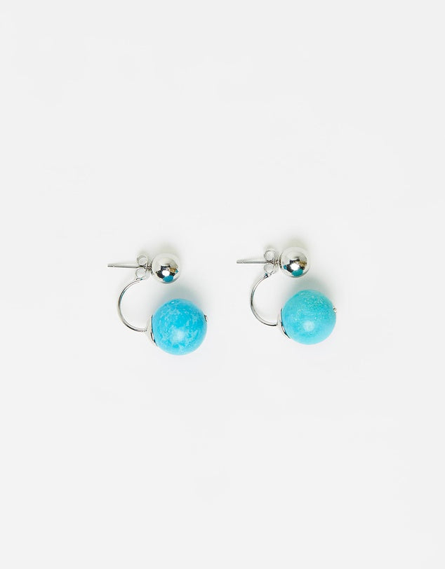 Izoa Nebular Hang Earrings Silver Turquoise