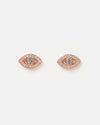 Miz Casa & Co Night Moon Eye Stud Earrings Rose Gold Clear