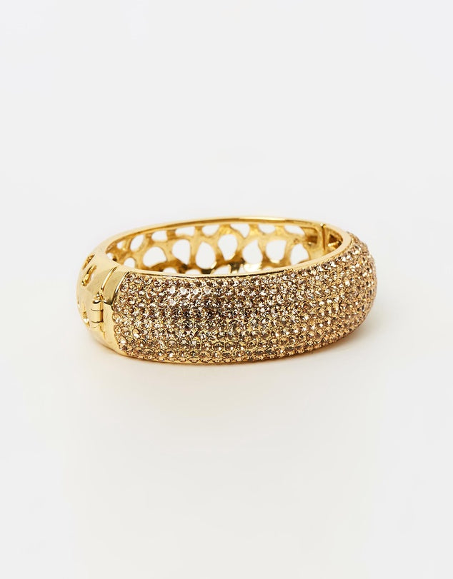 Izoa Nine Row Crystal Bangle Gold