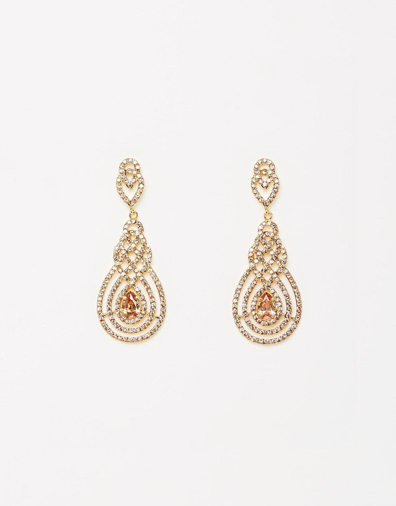 Izoa Nouveau Crystal Earrings Gold