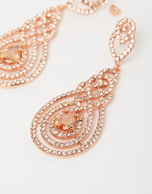 Izoa Nouveau Crystal Earrings Rose Gold Peach