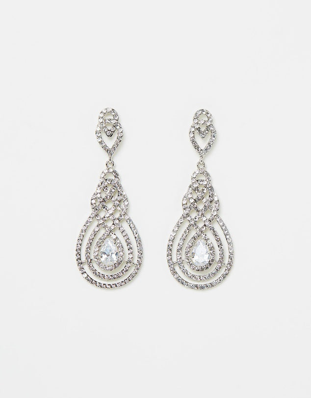Izoa Nouveau Crystal Earrings Silver Clear