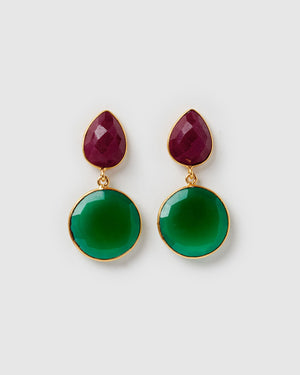 Izoa Nova Earrings Green Onyx Dyed Ruby