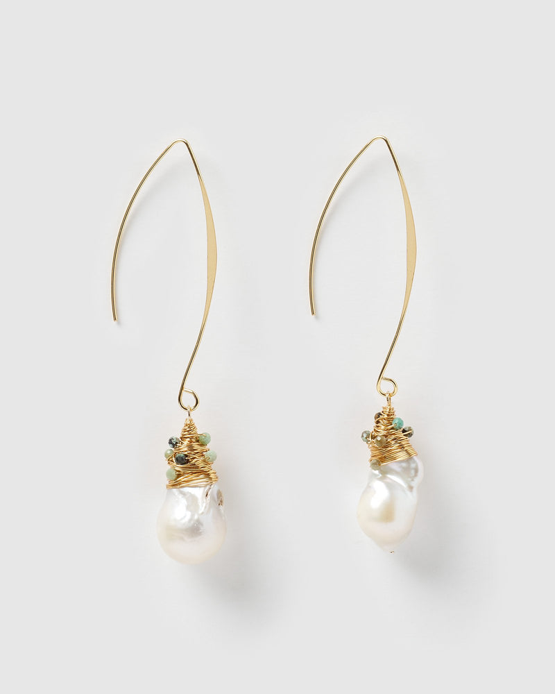 Miz Casa & Co Kelsey Drop Earrings Freshwater Pearl Turquoise