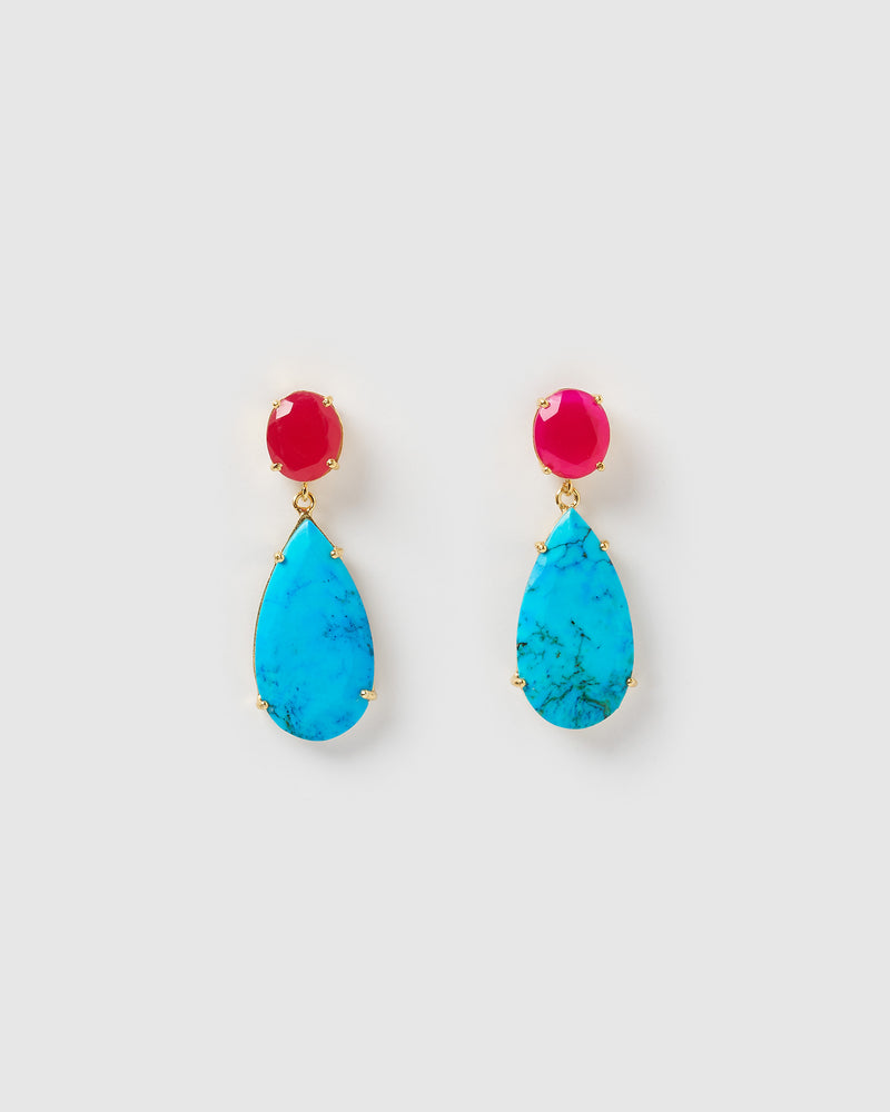 Izoa Never Forgotten Earrings Turquoise Fuchsia Chalcedony