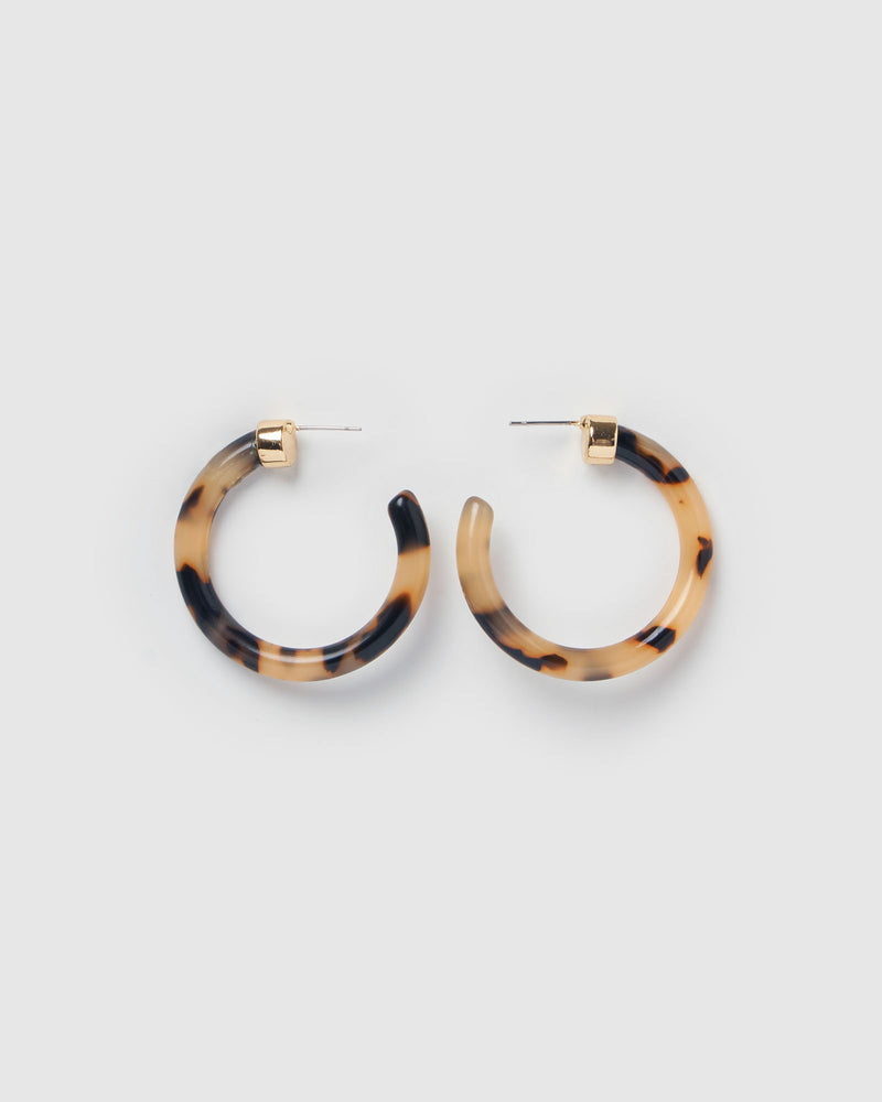 Izoa Olivia Hoop Earrings Light Tortoise Shell Gold