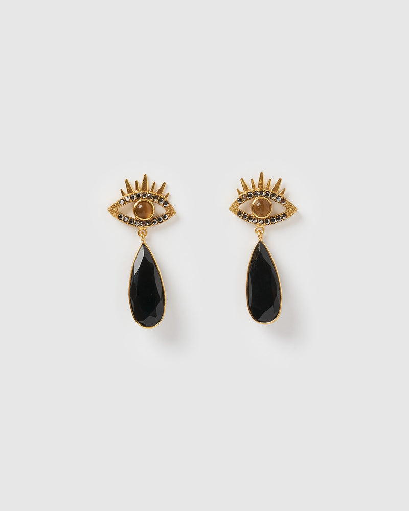 Izoa Observer Earrings Gold Black Onyx