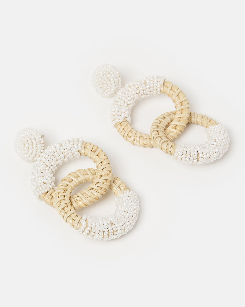 Izoa Paisley Earrings Natural White