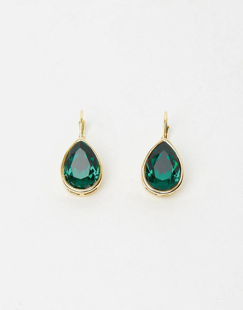 Izoa Pear Drop Earrings Gold Emerald