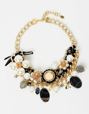 Izoa Pearl and Jewel Statement Necklace in Gold, Black and Pearl