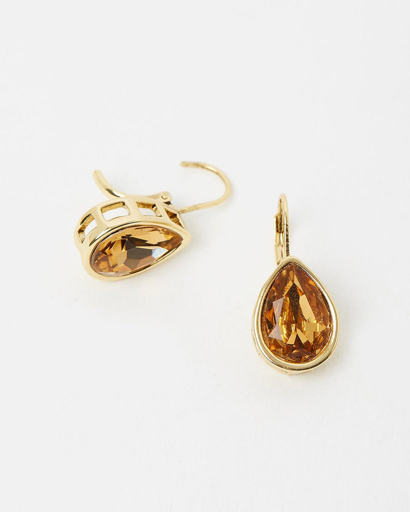 Izoa Pear Drop Earrings Gold