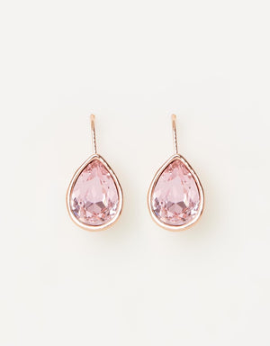 Izoa Pear Drop Earrings Rose Gold Pink