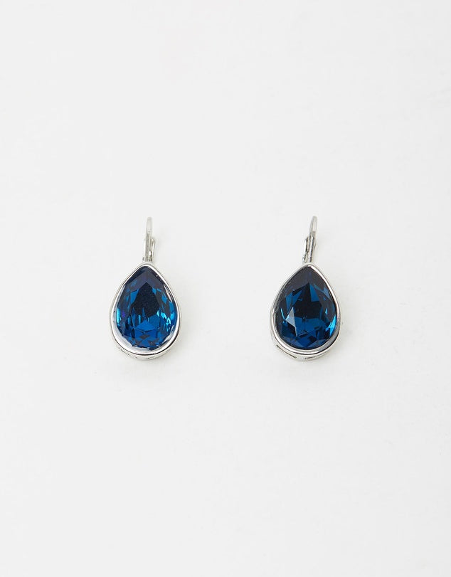 Izoa Pear Drop Earrings Silver Blue