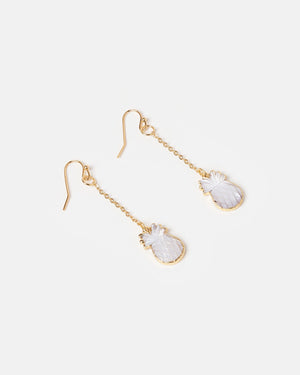 Miz Casa & Co Pineapple Charm Drop Earrings Gold