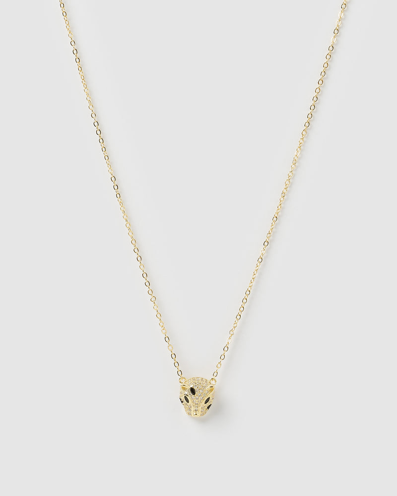 Izoa Panther Necklace Gold Black