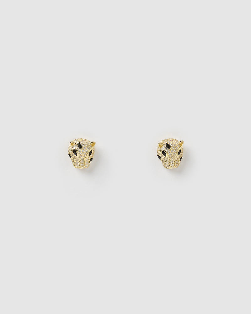 Izoa Panther Stud Earrings Gold Black