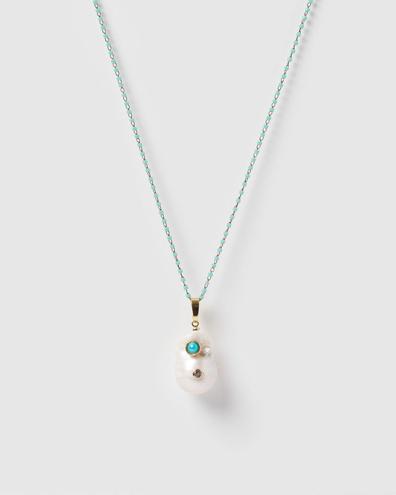 Miz Casa & Co Pearla Pendant Necklace Gold Turquoise