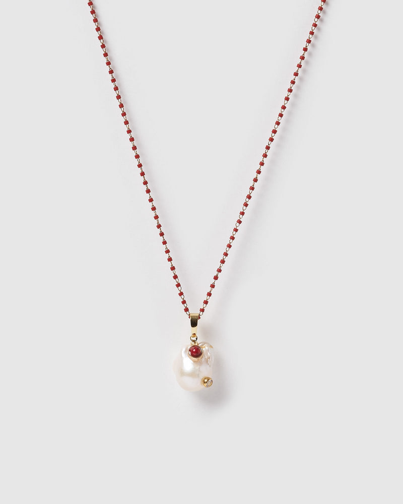 Miz Casa & Co Pearla Pendant Necklace Gold Red