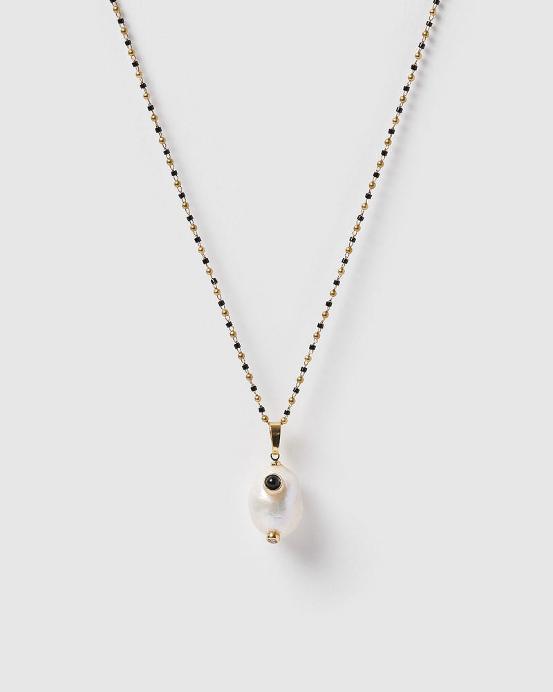 Miz Casa & Co Pearla Pendant Necklace Gold Black