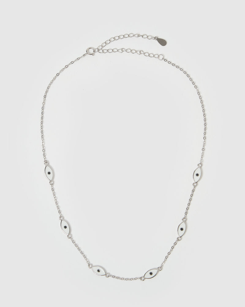 Izoa Providence Eye Choker Necklace Silver