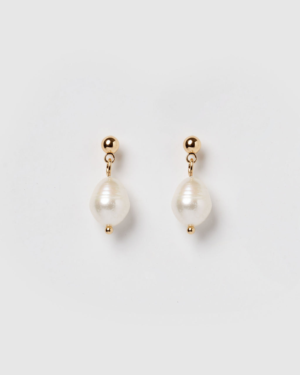 Izoa Rain Drop Earrings Gold Freshwater Pearl