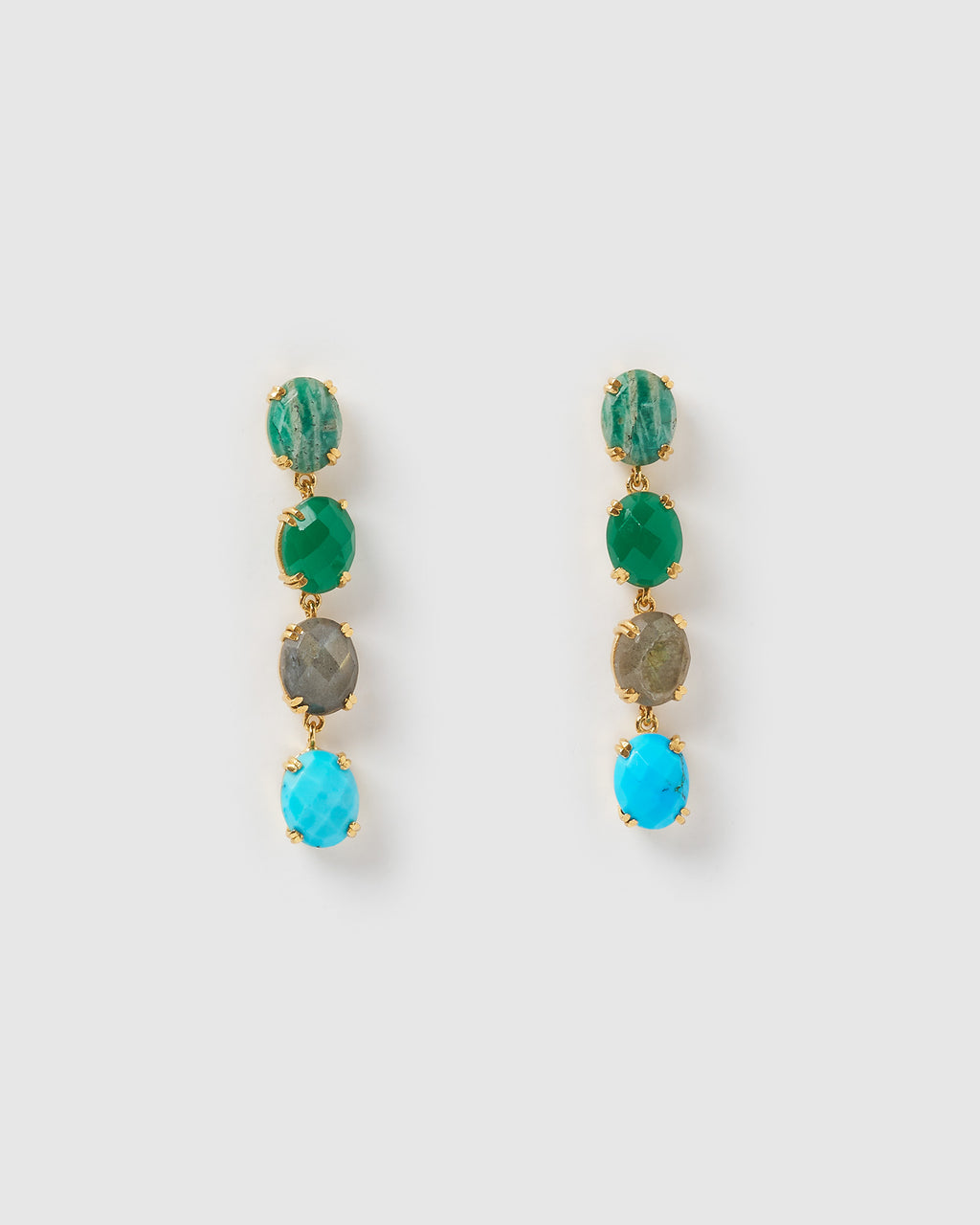 Izoa Ravish Earrings Gold Green Blue