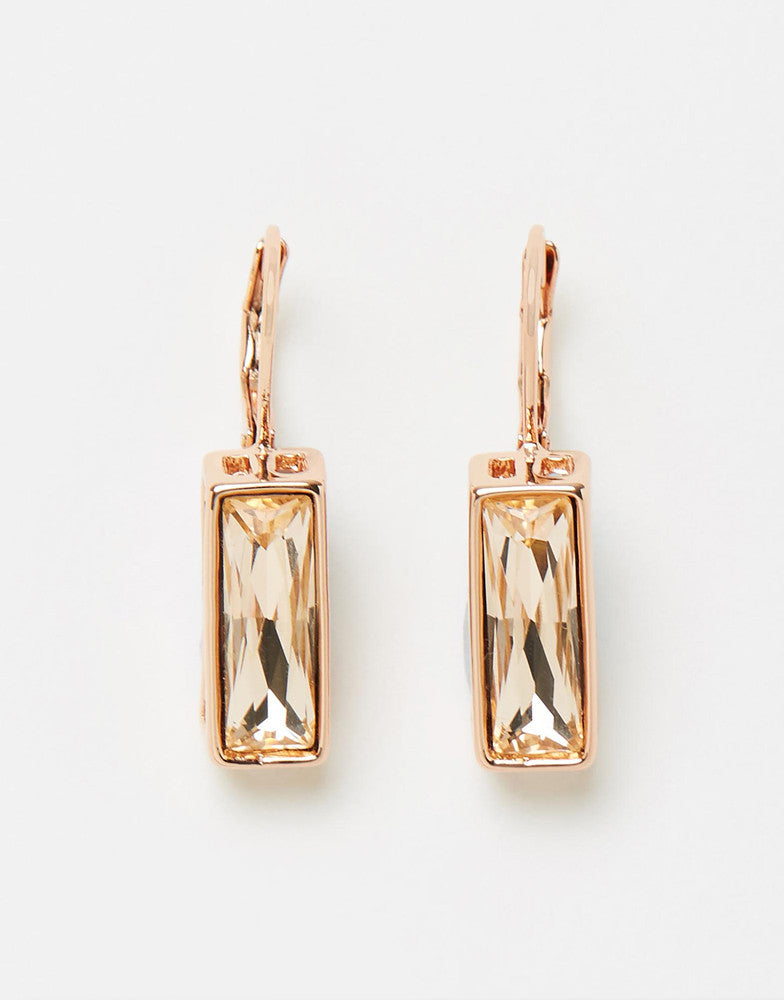 Izoa Rectangular Hang Earrings Rose Gold