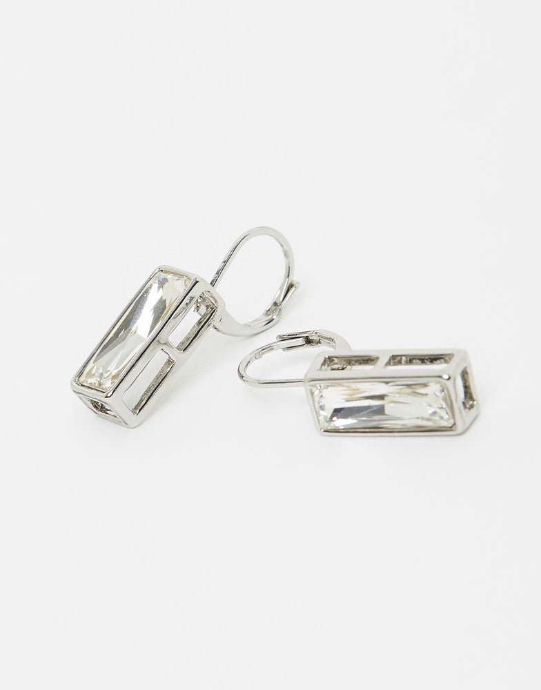 Izoa Rectangular Hang Earrings Silver