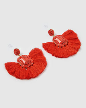 Izoa Reign Earrings Red