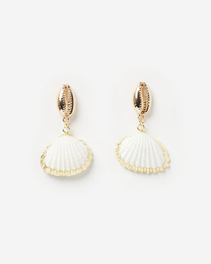 Miz Casa & Co Rockpool Shell Earrings White Gold
