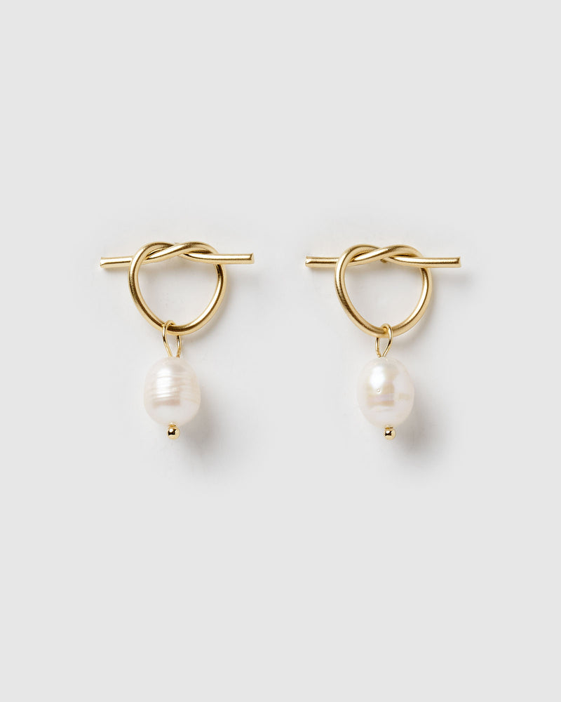 Izoa Rosette Earrings Gold Freshwater Pearl