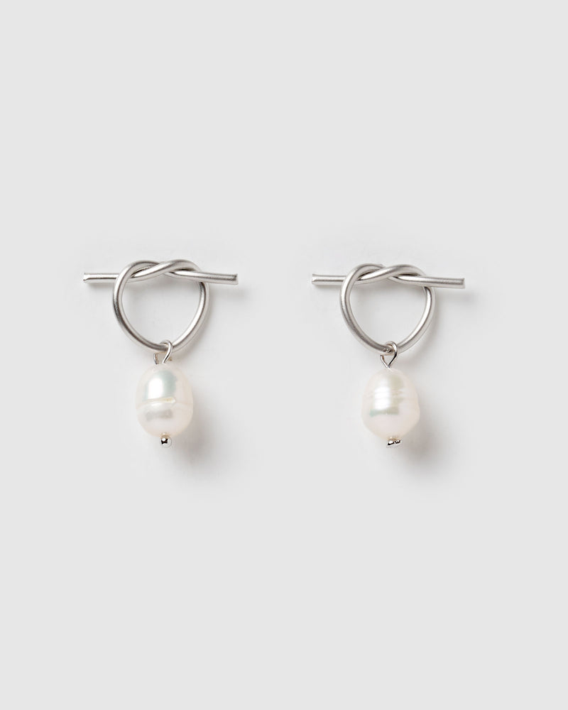 Izoa Rosette Earrings Sterling Silver Freshwater Pearl