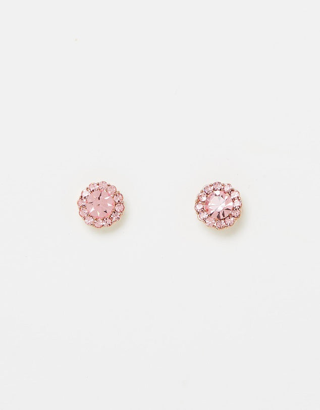 Izoa Rosie Stud Earrings Rose Gold Pink