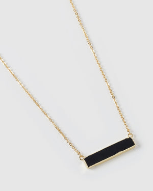 Miz Casa & Co Rylee Pendant Necklace Black Onyx Gold