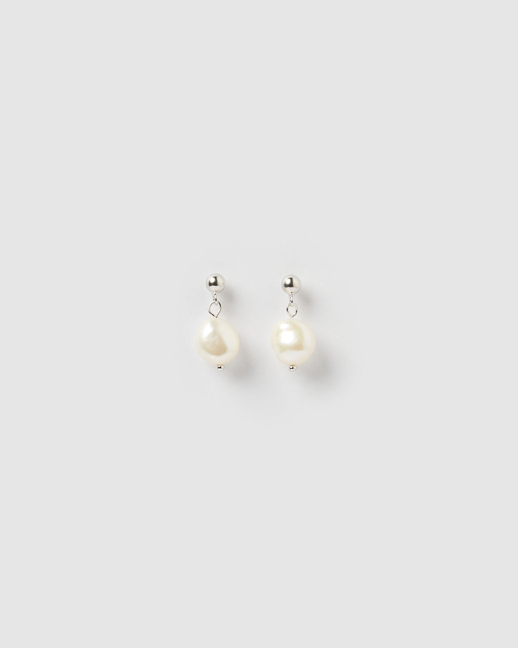 Izoa Rain Drop Earrings Silver Freshwater Pearl