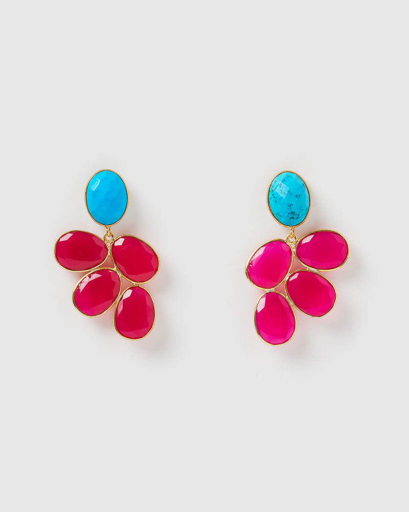 Izoa Remember Earrings Fuchsia Chalcedony Turquoise