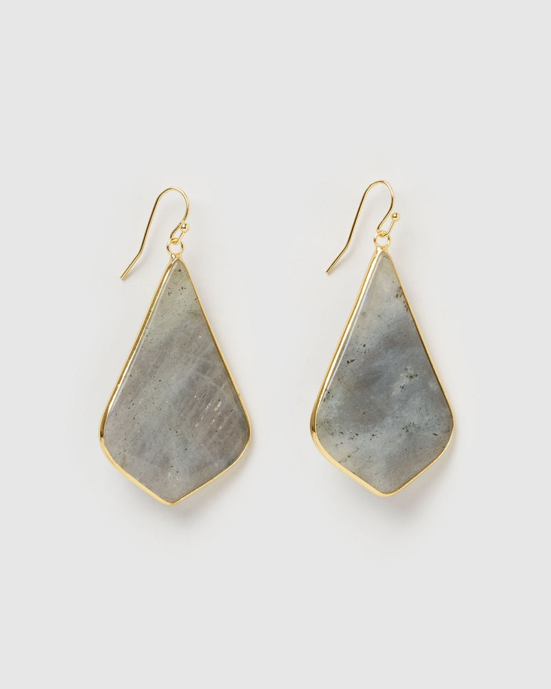Miz Casa & Co Sandalwood Earrings Labradorite Gold