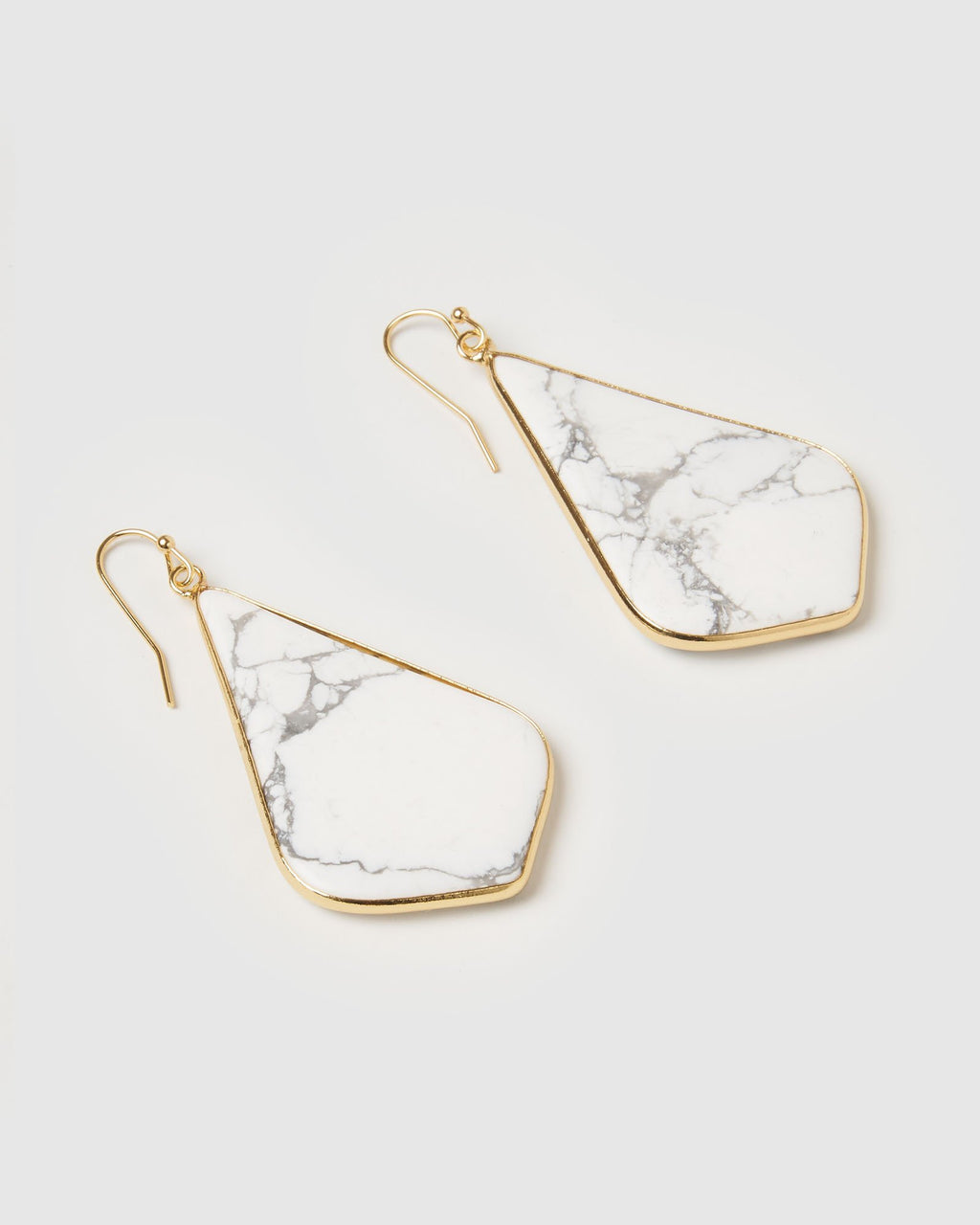 Miz Casa & Co Sandalwood Earring White Marble