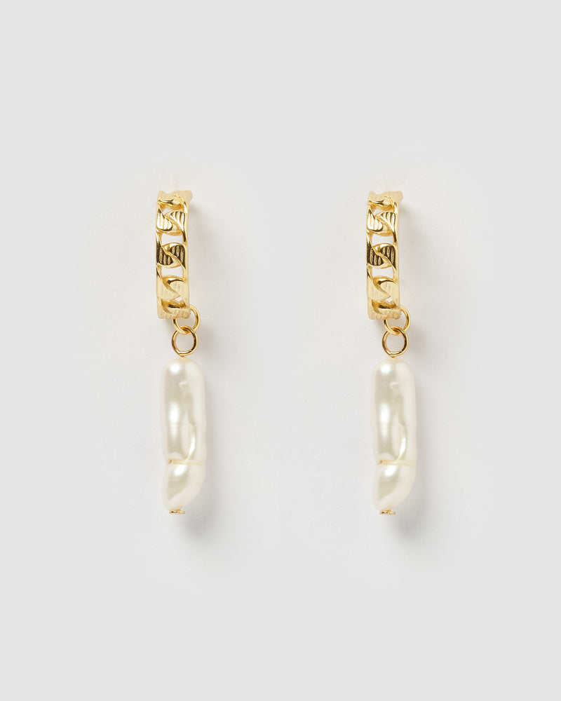 Izoa Sasha Earrings Gold Freshwater Pearl