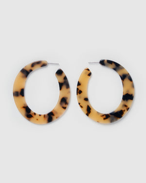 Izoa Savannah Hoop Earrings Cream Tortoise Shell