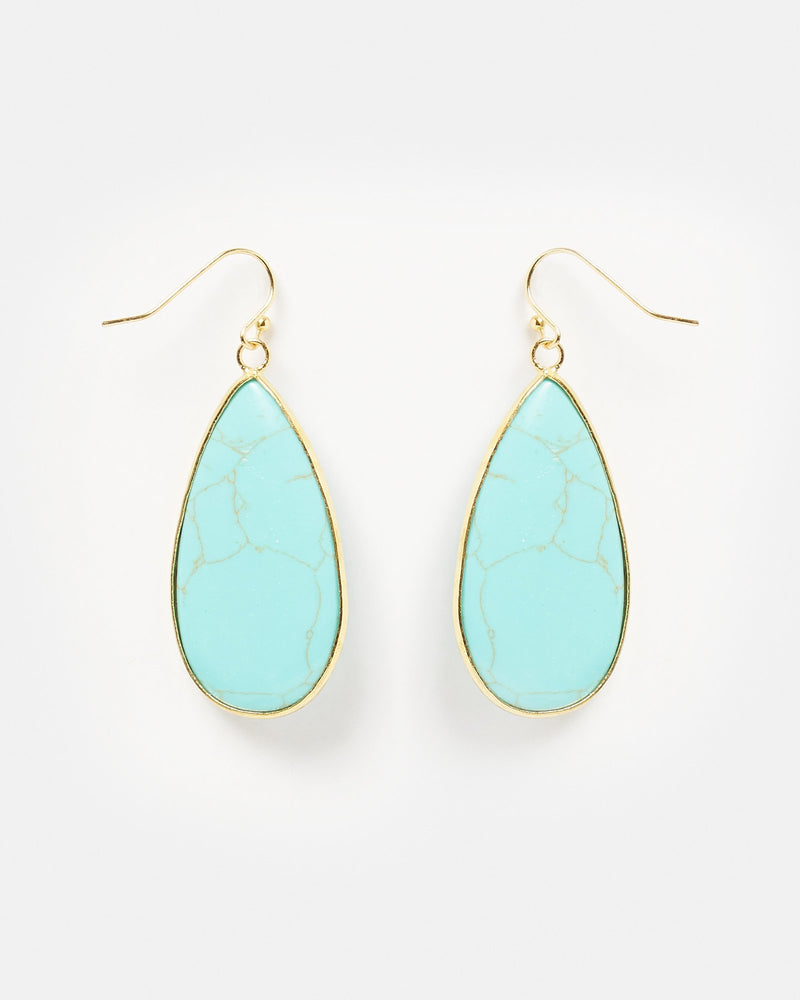 Miz Casa & Co Sea Petal Earrings Turquoise Gold