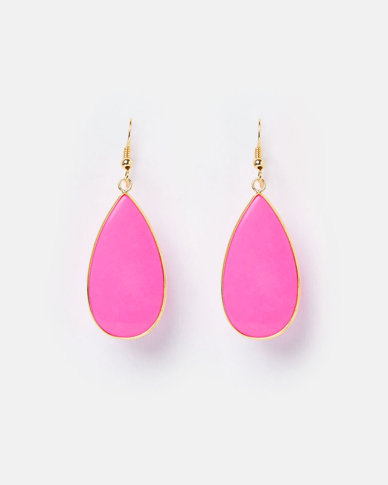 Miz Casa & Co Sea Petal Earrings Magenta Gold