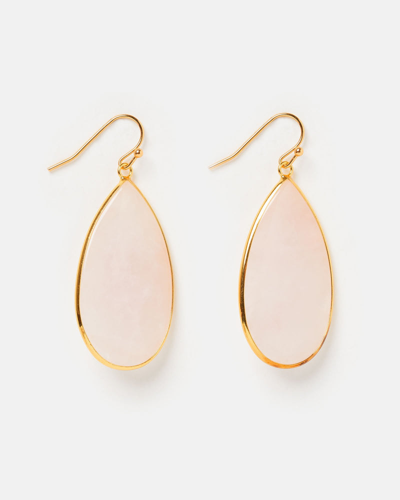 Miz Casa & Co Sea Petal Earrings Rose Quartz Gold
