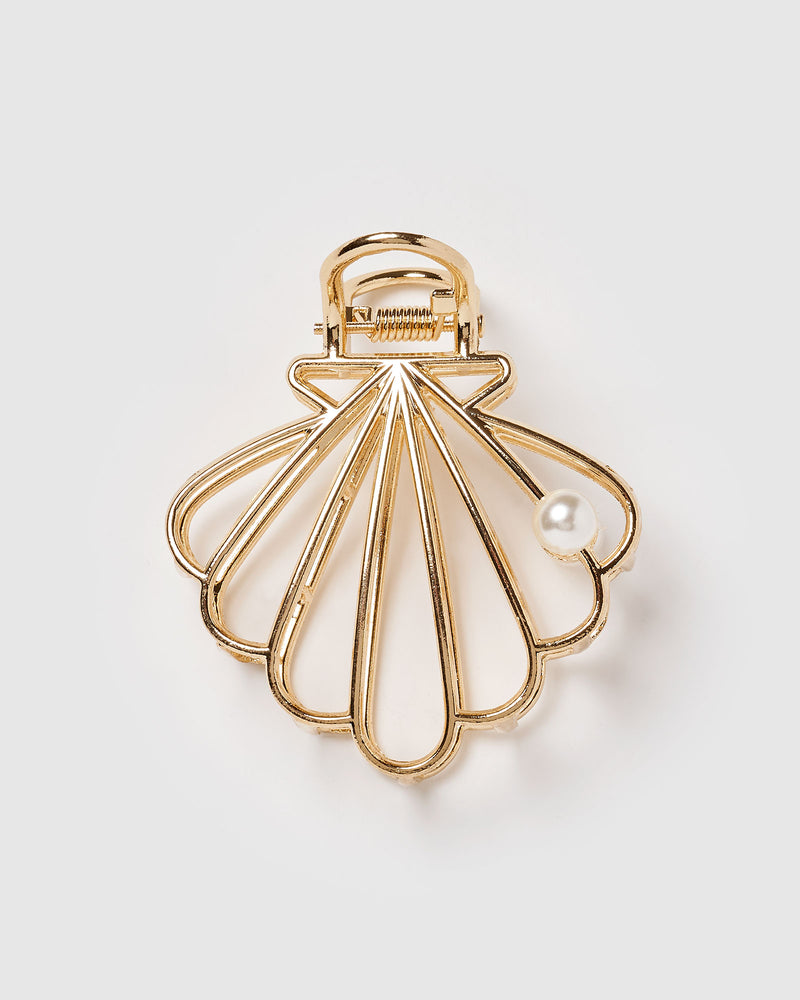 Izoa Sea Shell Hair Clip Gold